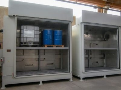 16 DRUM HEATING CABINET WITH AUTOMATIC ROLLING SHUTTER DOORS