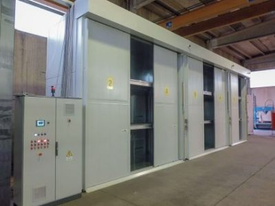 96 DRUMS HEATING CABINET, THREE ZONES, WITH AUTOMATIC SLIDING DOORS