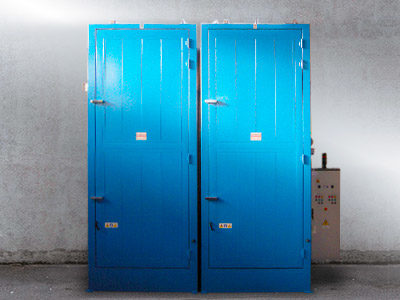 12 DRUM HEATING CABINETS,VERTICAL TYPE, HOT OIL, SINGLE CONTROL PANEL